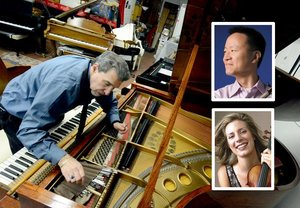 Evan Tublitz tunes a Steinway at his shop in Mechanicville; inset: David Kim and Elizabeth Pitcairn. Photographer: Marc Schultz