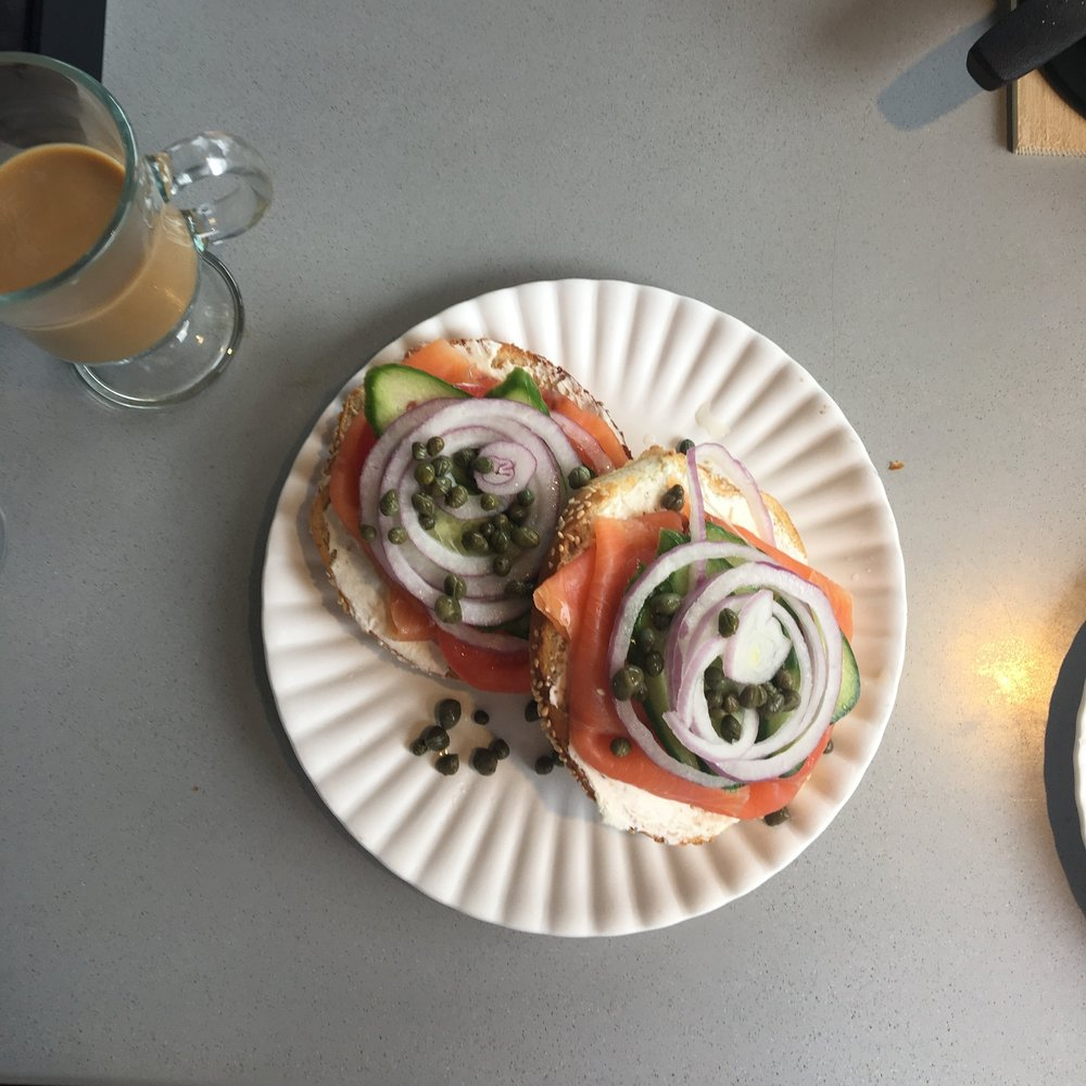 We went to brunch one morning and one of my all-time favorite breakfasts is a bagel and lox. I feel great about the smoked salmon but try to limit my wheat since I feel better without it. I decided to enjoy this breakfast and it was 100% worth it.