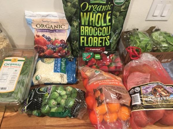 1. organic baby spinach 2. frozen organic berries 3. organic cauli rice 4. organic b sprouts 5. frozen broccoli 5. organic strawberries 6. clementines 7. butter lettuce 8. sweet potatoes