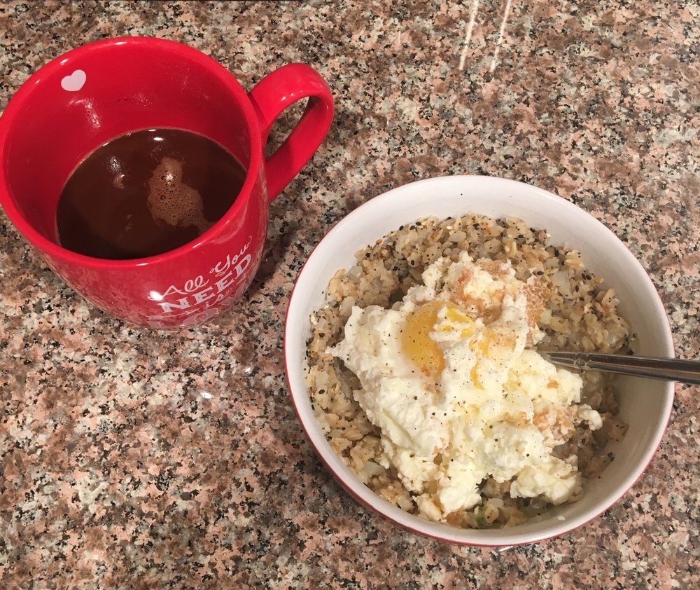breakfast oats and coffee