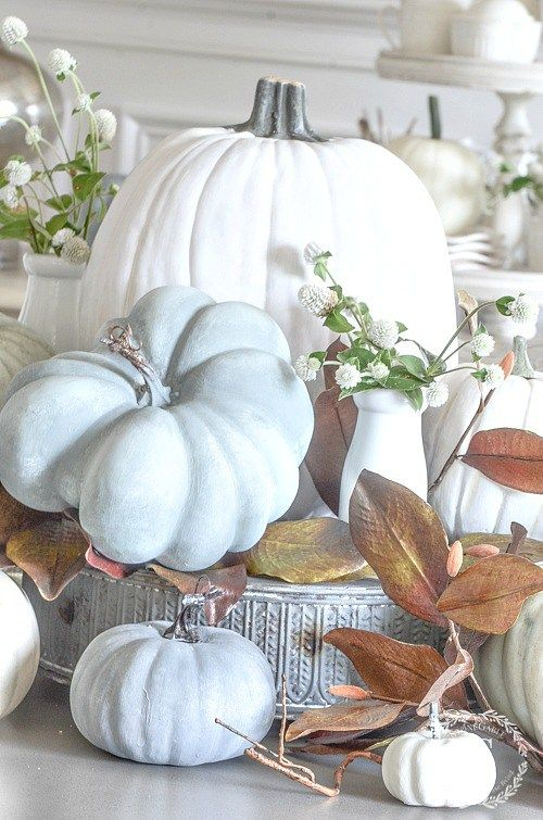 Fall Home Decor with White Pumpkings