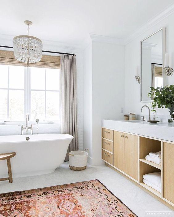 Modern White Coastal Bathroom. E Design available at www.dinamariejoy.co.
