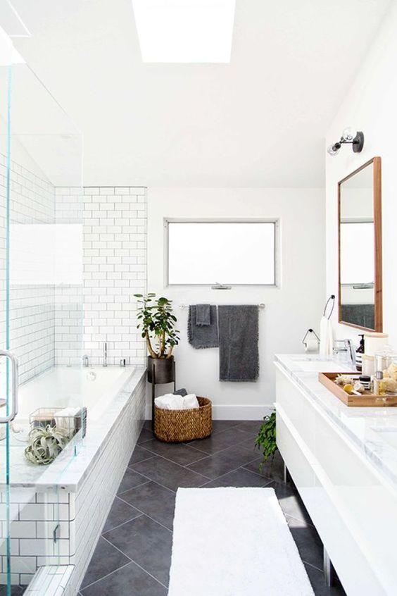 Modern White Bathroom in Pacific Grove California. E Design available at www.dinamariejoydesigns.com