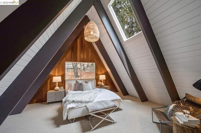 The Master Bedroom at the A Frame Home in Oakland California. E Design available at www.dinamariejoy.co