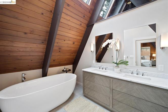 A Frame Master Bathroom in Oakland California. E Design available at www.dinamariejoy.co