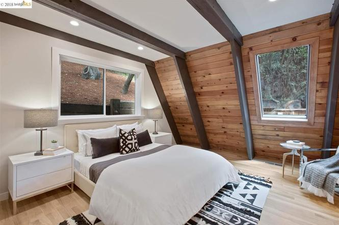 A Guest Room at the A Frame Home in Oakland California. E Design available at www.dinamariejoy.co