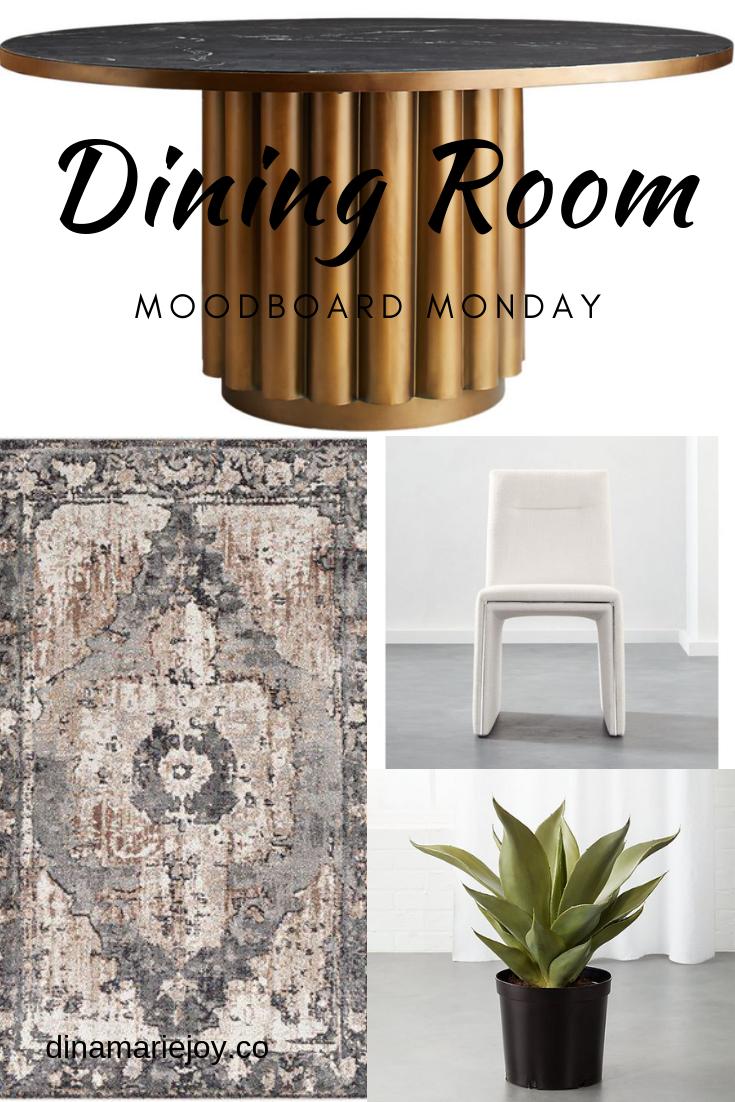 Mood Board Monday by Dina Marie Joy. A Modern Dining Room. www.dinamariejoy.co