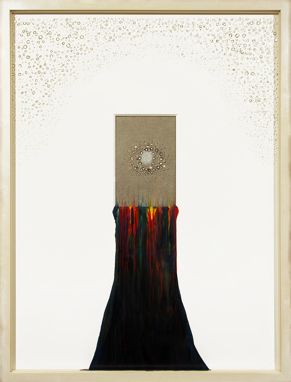 painting into...(IX) , paper and acrylic paint in maple frame with glass, 18¾ x 24¾ x 1½ inches
