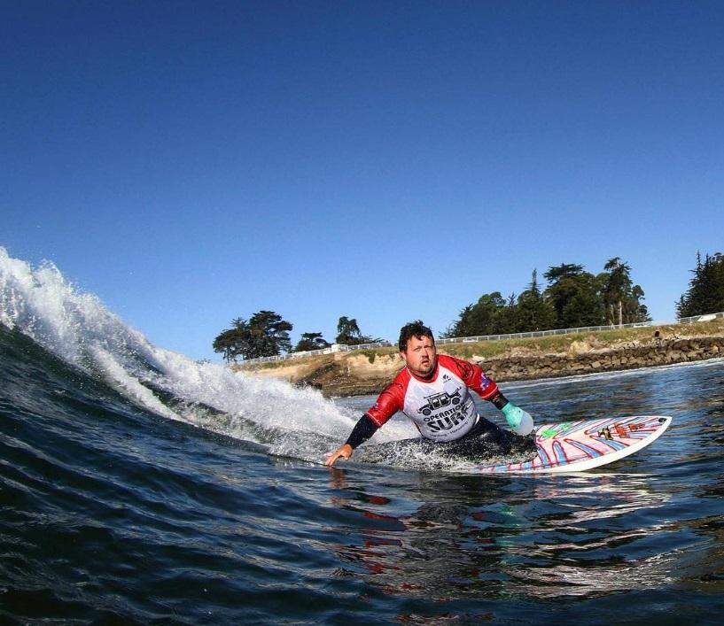 Pollock surfing Steamer's Lane in Santa Cruz. Instagram Photo: @nellysmagicmoments
