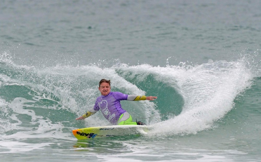 Mark 'Mono' Stewart will defend his title at the 2017 nudie Australia Adaptive Surfing Titles. Photo: Surfing Australia