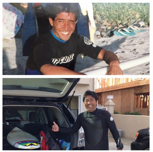 Chris Kimura surfing Cardiff, 1985 and 2015