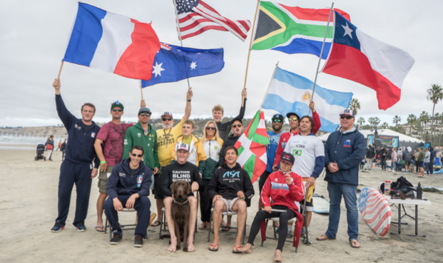 Visually impaired surfers unite. photo: Sean Evans
