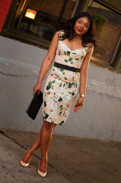 dolce and gabbana floral dress, dolce and gabbana ss13, ysl belle du jour, gucci nude shoes