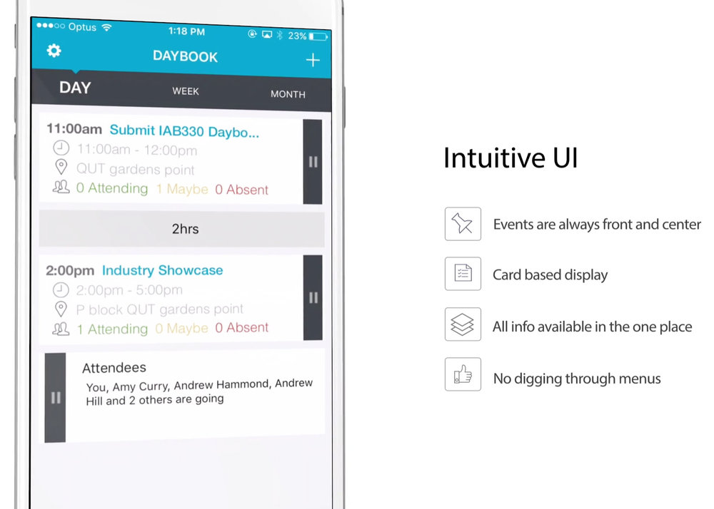 DAYBOOK - Platform: Xamarin + Native IOS UIRole: Front End ProgrammerDescription: Daily organisation app for Telstra. Integrates Outlook Calendar with Yammer Contacts