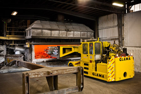 Recycling aluminum, at our aluminum manufacturing partner in Pennsylvania