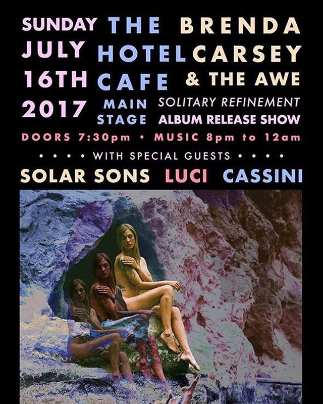 Tonight! @cassini.space is opening for @brendacarseyart with @lovelucimusic and @solar.sons 8pm @thehotelcafe Come join the get down!! . . . . . . #hotelcafe #cassini #brendacarseymusic #lovelucimusic #solarsons #livemusic #hollywood #soul #rock #rnb #dance