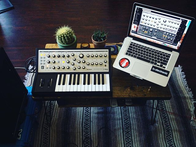 """For here Am I sitting in a tin can Far above the world"" . . . . . . #moogweek3 #moog #synthesizer #monosynth #basssynthesizer #hardware #cactus #controlboothview #patches #creative #bassist #bassplayer #gear"