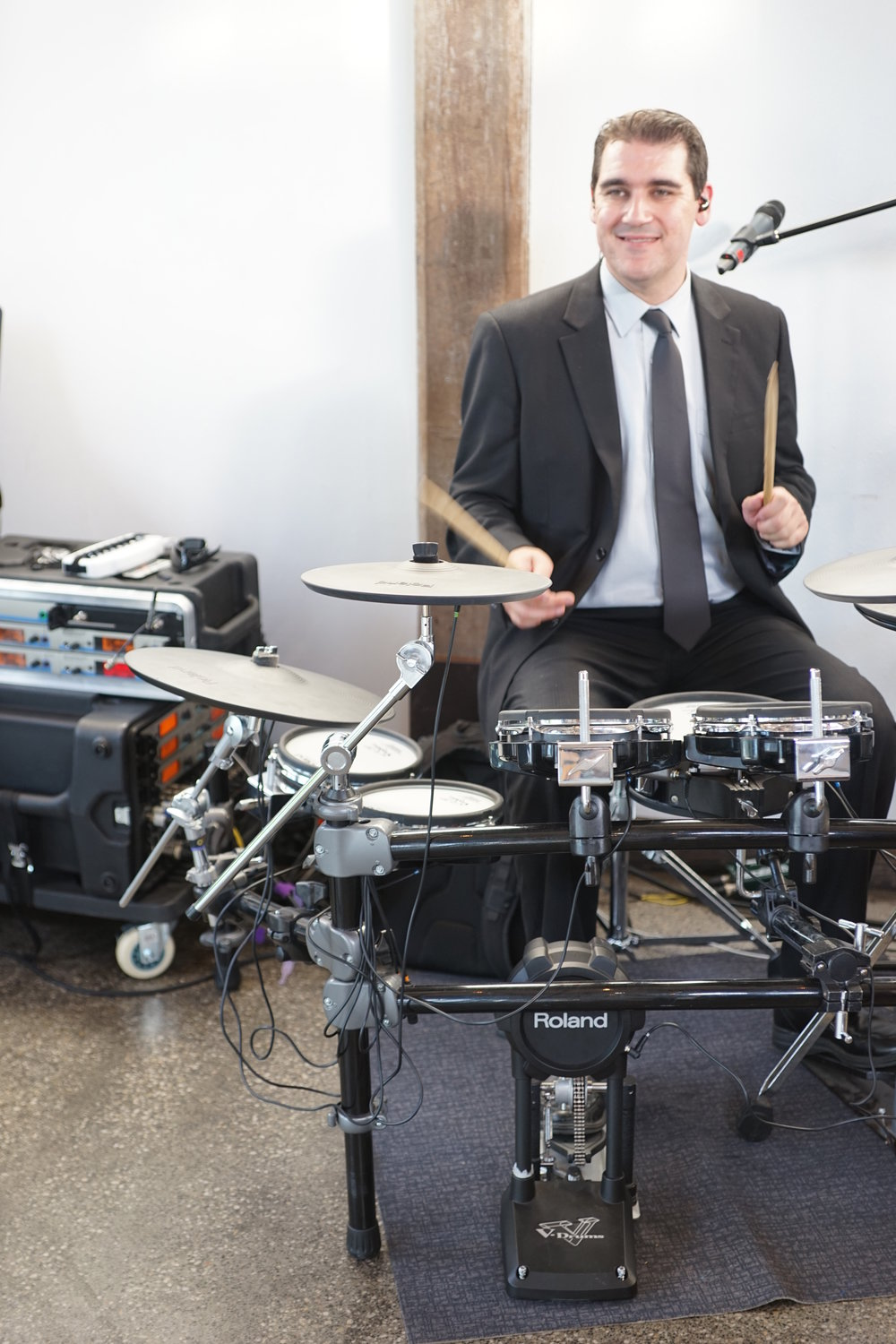 Dan playing the electronic V-Drums at a wedding