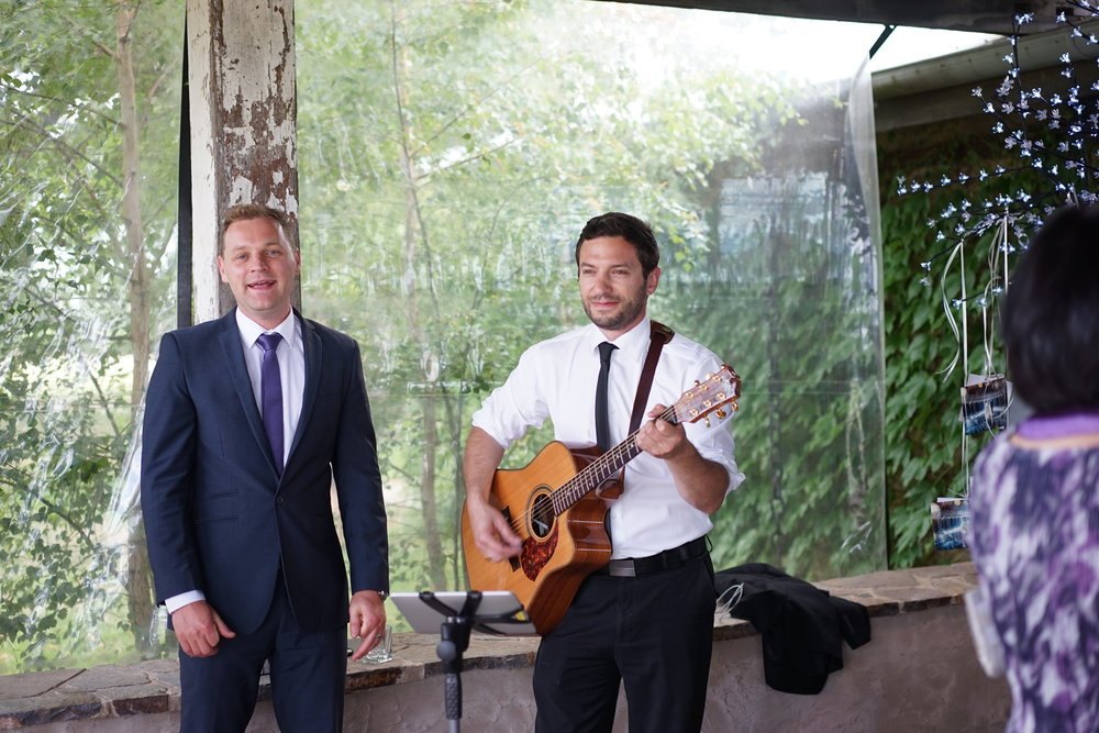 Brandon & Steve performing at a wedding ceremony at Stones of the Yarra Valley
