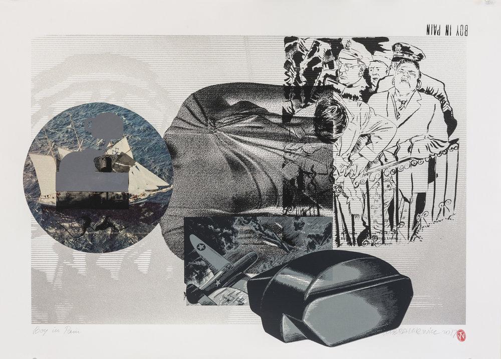 2018, silkscreen, collage