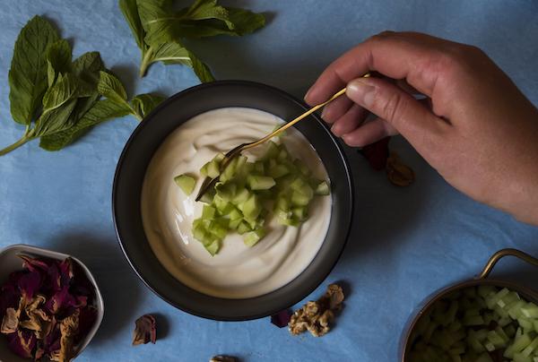 Mast-O-Khiyar: Stir through the chopped cucumber and dried (or fresh) mint. Stir through salt to taste.