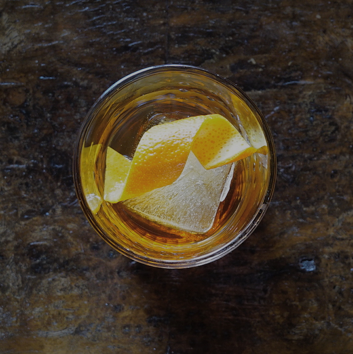 A twist of orange peel adds some zing to the whisky and Montenegro