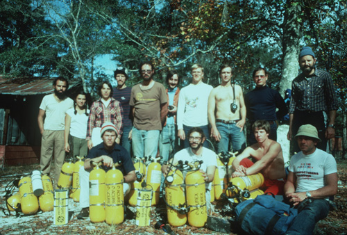 Team photo during training in the fall of 1983 at Indian Springs, Florida. Rear, left to right: Carlos Lazcano, Elena Lazcano, Pat Wiedeman, Bill Stone, Gary Storrick, Bob Jefferys, Clark Pitcairn, Noel Sloan, John Zumrick, Sergio Zambrano. Front, left to right: Clark Daily, John Evans, Rob Parker, Angel Soto. [photo �1983 Bill Stone]