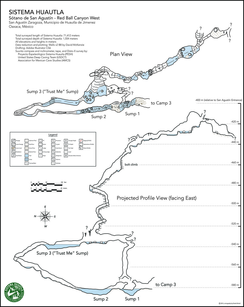 A map of the cave beyond the upstream sump in Redball canyon. Cartography by Derek Bristol.