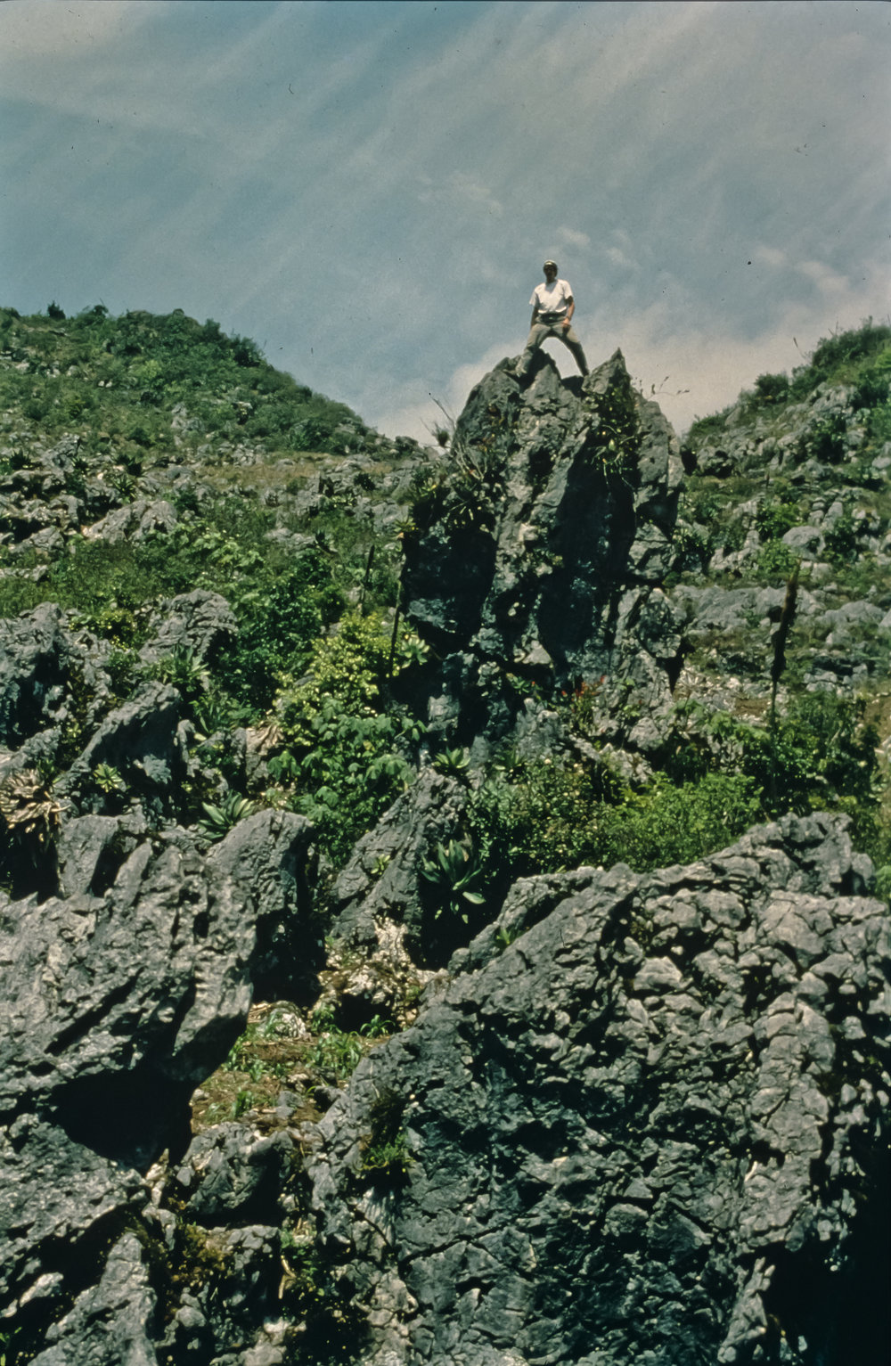 Bill Stone stands atop a spectacular karst pinnacle, one of many in the sinkholes between basecamp at the village of San Agustin Zaragoza and the southern rim of the Huautla Plateau. Photo by U. S. Deep Caving Team/Bill Stone.