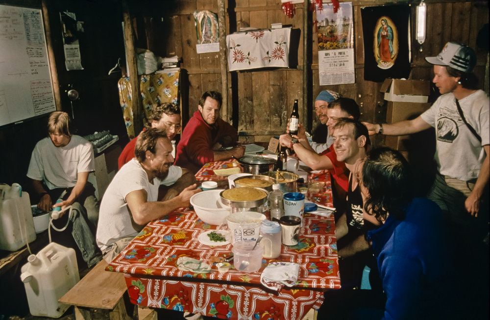 Typical mess hall scene in early March of 1994. Photo by U. S. Deep Caving Team/Bill Stone.