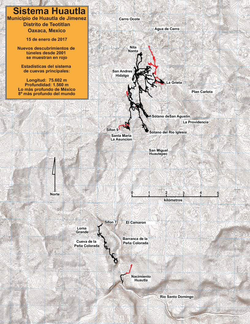 Another area map showing Sistema Huautla. Red lines show cave discovered since 2013.
