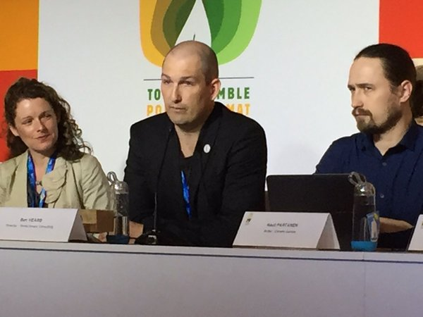 Ben Heard of Bright New World (centre) with Kirsty Gogan (leftt, Energy for Humanity) and Finnish ecomodernist author Rauli Partanen (right), at the Paris climte talks, 2015.