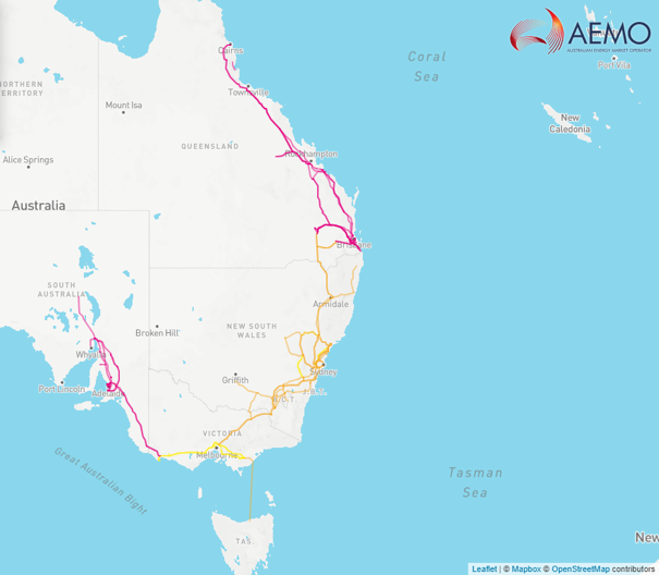 The National energy Market (NEM) transmission network