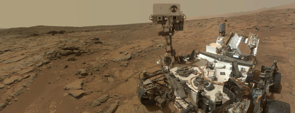 Curiosity's power source is the white finned cylinder at the rear. It contains an isotope of plutonium. Source:  4th Gen Blog .