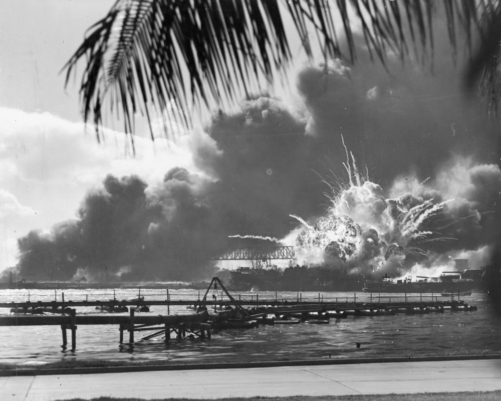 USS Shaw exploding during attack on Pearl Harbor, 1941 (courtesy Wikimedia)