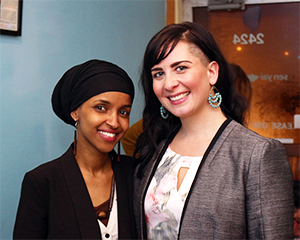 Rep. Ilhan Omar and Jillia Pessenda at Jillia's Kick Off Event