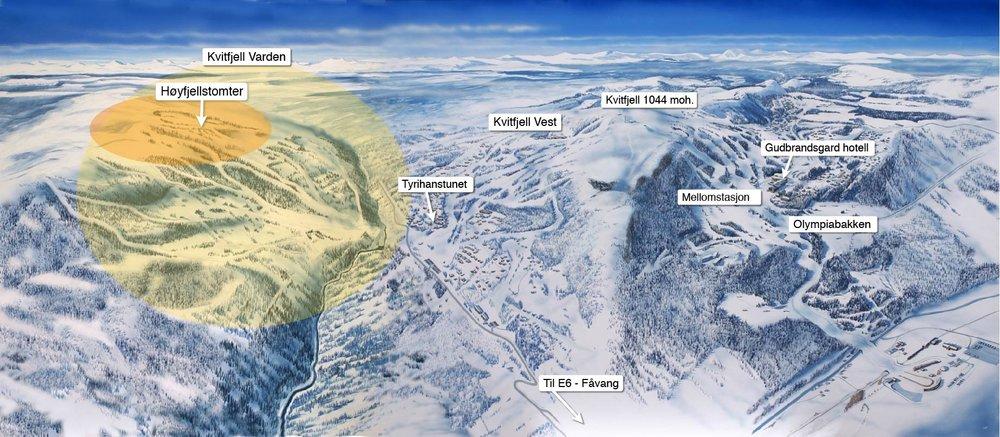 Kvitfjells nye fjellside markert.