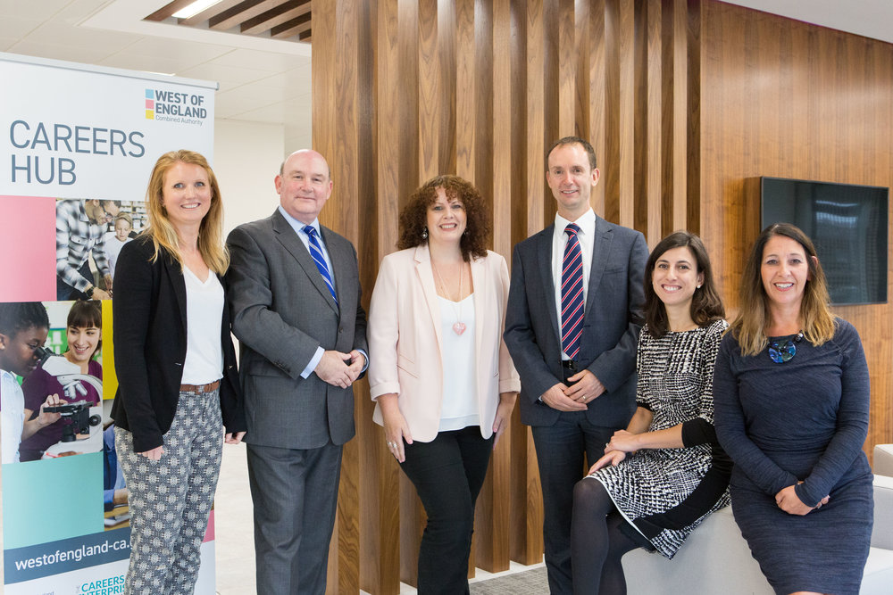 Tim Bowles, West of England Mayor (2nd from left), and Claudia Harris, Chief Executive of the Careers & Enterprise Company (2nd from right), with members of the Careers Hub Team from the West of England Combined Authority and Local Enterprise Partnership.