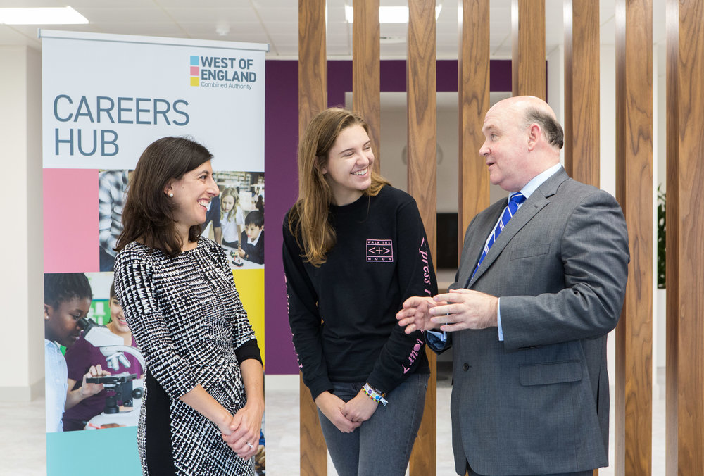 (left to right) Claudia Harris, Chief Executive of the Careers & Enterprise Company; Annabel Moller, Envision Community Apprentice Graduate; and Tim Bowles, West of England Mayor.