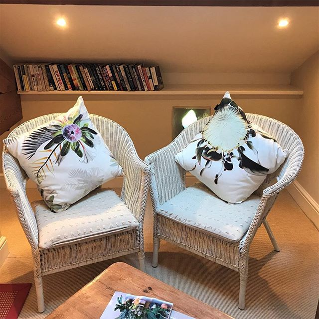 Our outdoor cushions looking very much at home indoors, having a cool down away from all the wonderful sunshine. Thanks to our client in the Lake District for this photo - so glad you love them! #indooroutdoorliving #protea #cushions #exclusivedesign #houseandgarden #stylestatement #loveyourhome #southafricanstyle #clintonfriedman #interiorstyling #designinspirations #luxuryliving