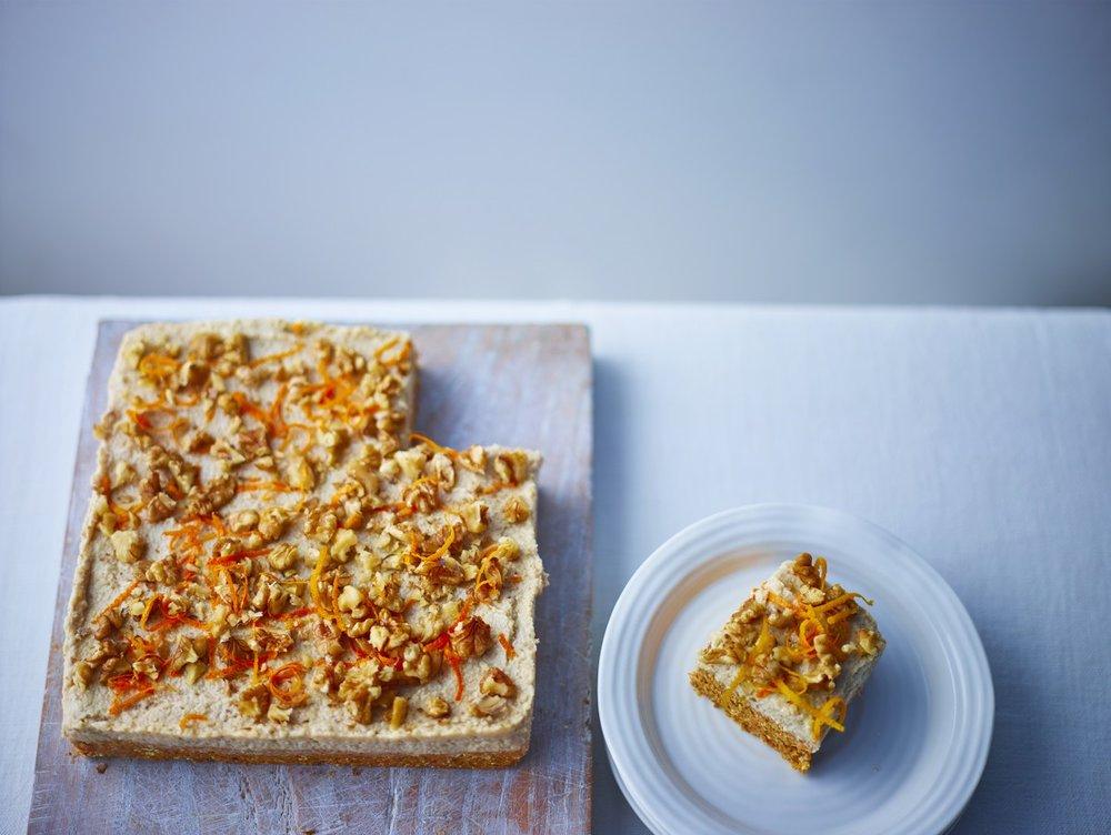 Raw vegan, gluten-free moist carrot cake