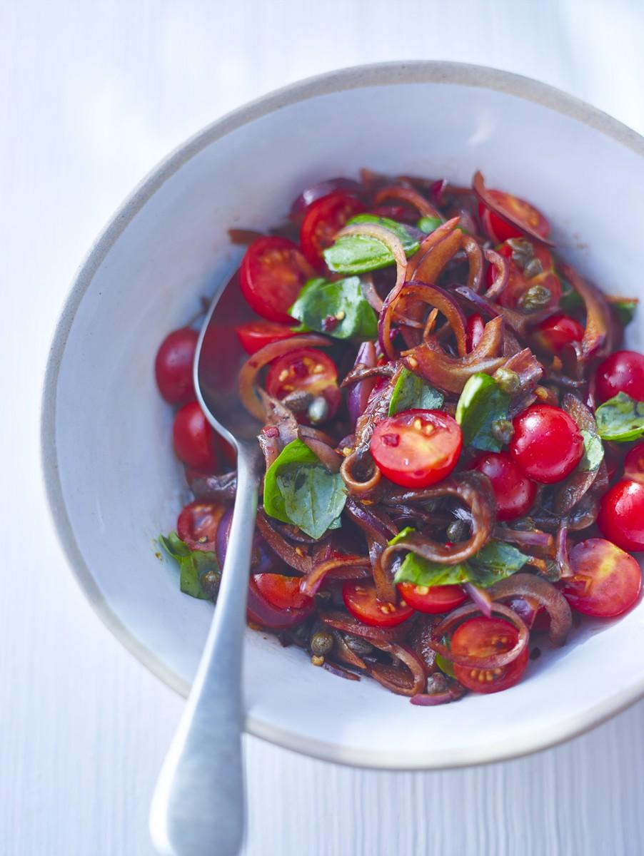 Tomato, onion and caper salad