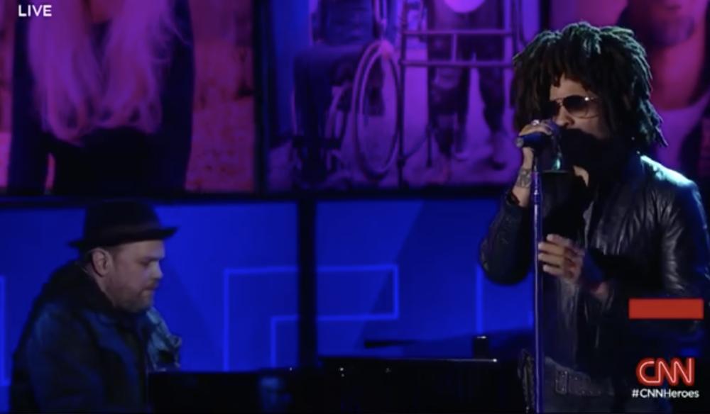 David Baron and Lenny Kravitz perform on CNN Heroes live tv show