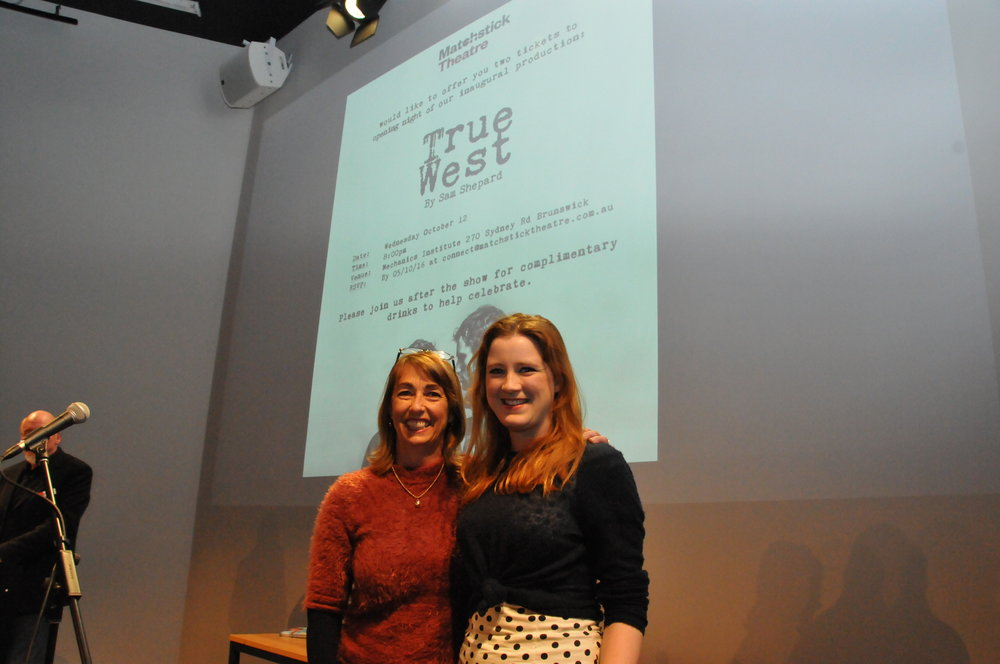 Matchstick Theatre Co representative with Carmel Flynn from BLOC Theatre