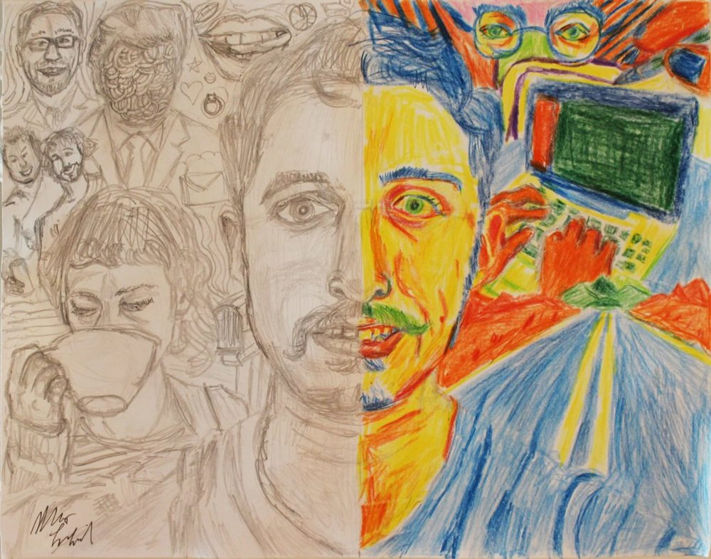 Artwork this week from Max LaZebnik, an autism self advocate and artist (http://the-art-of-autism.com/matt-lazebnik-expressing-emotions-thru-self-portraits/)