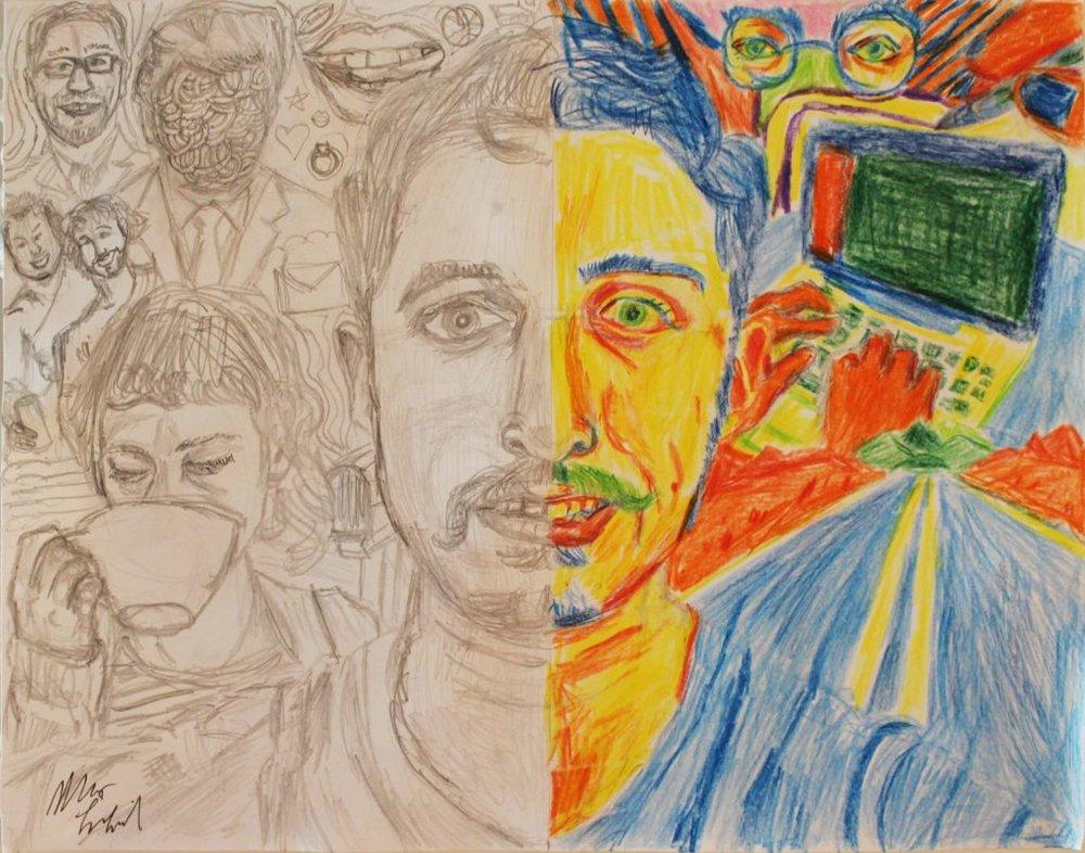 Artwork this week from Max LaZebnik, an autism self advocate and artist (http://the-art-of-autism.com/matt-lazebnik-expressing-emotions-thru-self-portraits/)