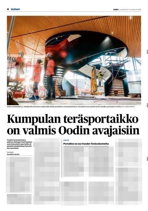 Lehtijuttu Oodin portaasta, palkinnosta ja Kaaritaivutuksesta, Ilkka-lehti la 24.11.2018
