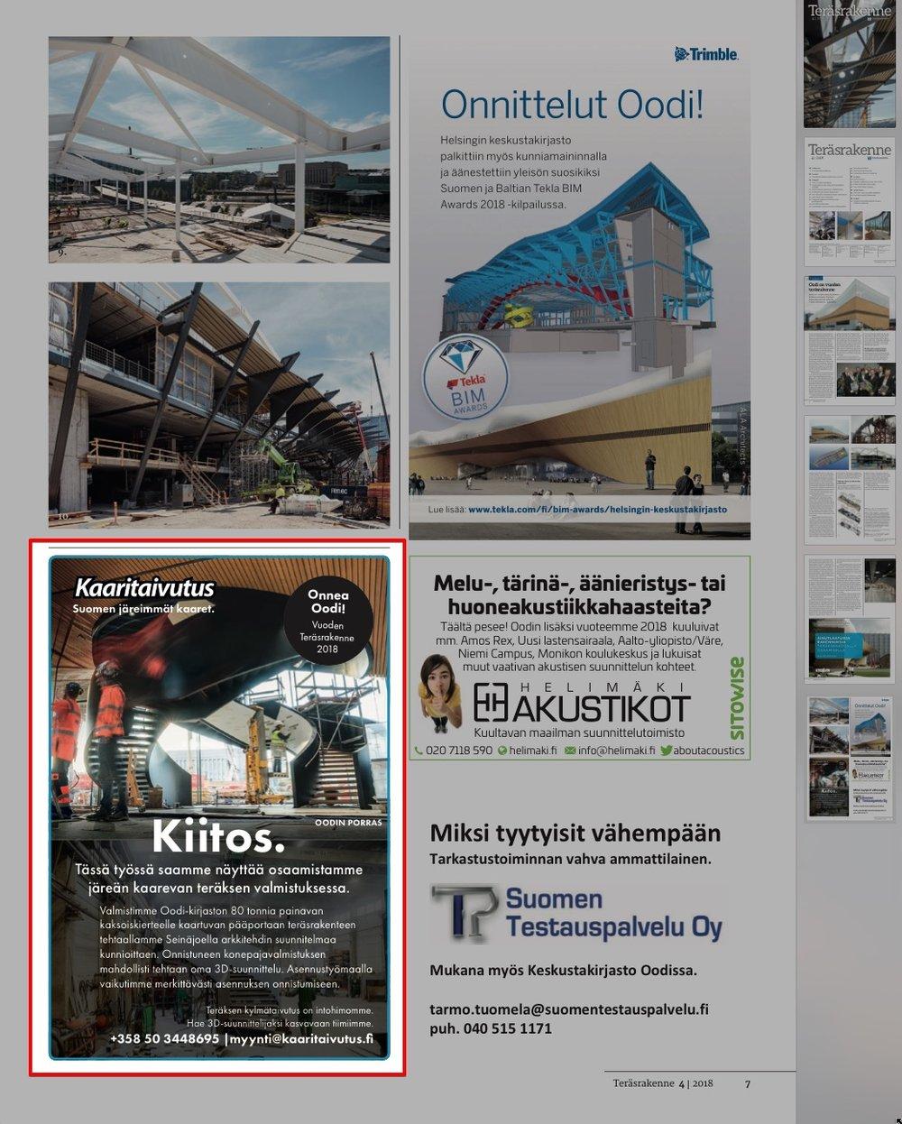 Lehti-ilmoituksemme Oodin pääportaasta, Teräsrakenne nro 4/2018