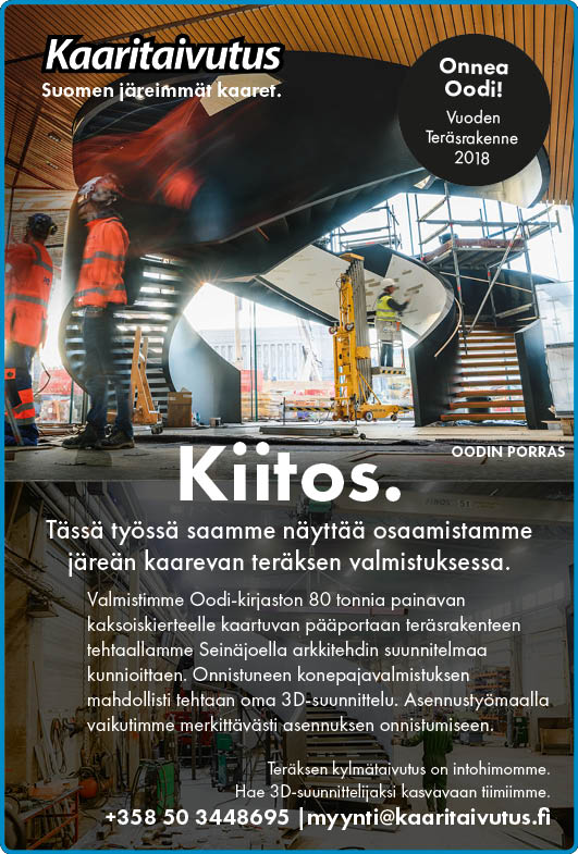 Ilmoituksemme Teräsrakenne-lehti nro 4/2018.