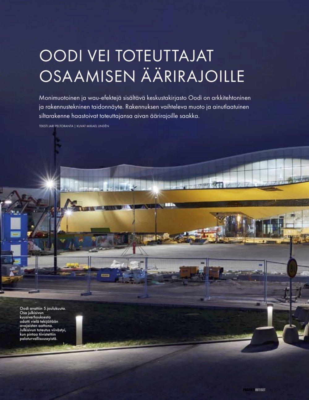 Lehtiartikkeli Oodi-kirjastosta, Projektiuutiset nro 6/2018.